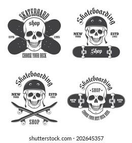 Set of skateboarding emblems, labels and designed elements. Set 2
