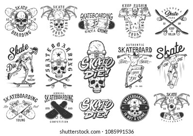 Set of skateboarding emblems in monochrome vintage style. Vector illustration.
