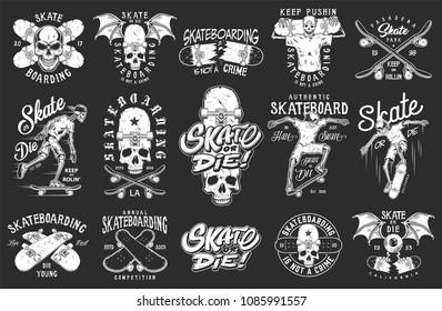 Set of skateboarding emblems in monochrome vintage style. Vector illustration.