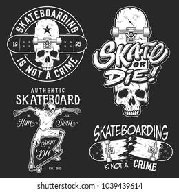 Set of skateboarding emblems in white colour isolated on black. Vector illustration