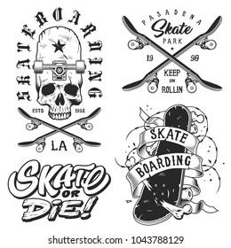 Set of skateboarding emblems in white colour isolated on white. Vector illustration