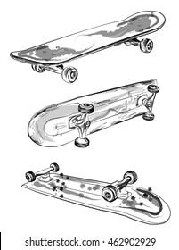 Set of skateboards.