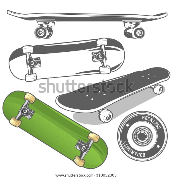 681faab9 Set of skateboards from different angles + detailed skateboard wheel.  Vector illustration