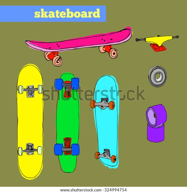 0909f980 Set Skateboards Skateboarding Spare Parts Stock Vector (Royalty Free ...
