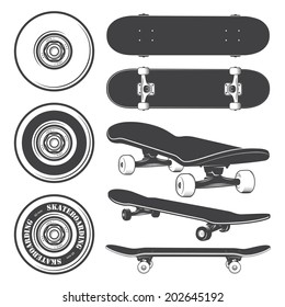 Set of skateboards and skateboarding wheels.