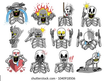 Set of Skeleton Emoticon with various gesture and expressions