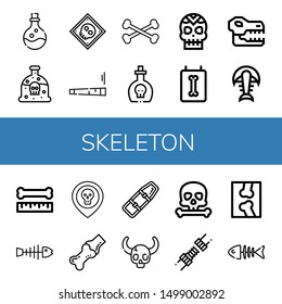 Set of skeleton icons such as Poison, X ray, Joint, Bones, Skull, Fossil, Bone, Fishbone, Spinal board, Fish bone , skeleton