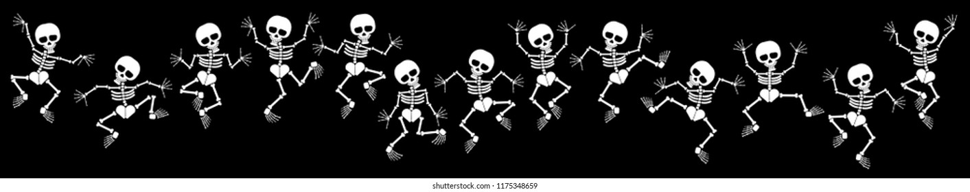 set of skeletons for halloween