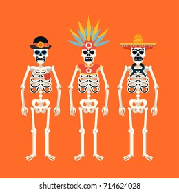 Set of skeletons wearing various headdresses. Ideal for Mexican 'Day of the Dead' themed graphic and web design