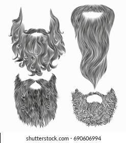 set sketch Beard mustache.