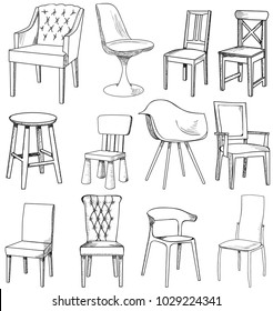 set of sketch of chair