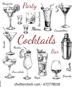 Set of sketch cocktails and alcohol drinks hand drawn illustration