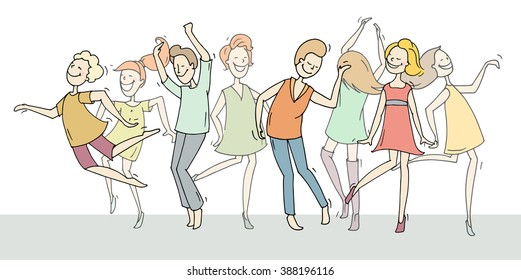 Set of sketch dancing people in different poses on the dance floor. Doodle collection of cartoon dancers, women and men funny characters. Hand drawn vector illustration isolated on white background.