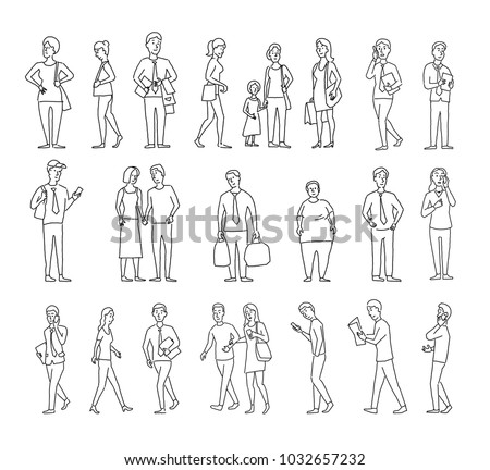 Set sketch a lot of different people. Many ordinary people on the street. Hand drawn black line vector stock illustration.