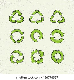 Set of sketch doodle recycle reuse symbols isolated on craft paper background. Hand drawn vector recycle icon. Recycle signs for ecological design, recycling icons