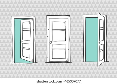 Set of sketch doors, closed and open. Vector illustration.