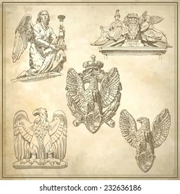 set of sketch drawing winged element angel and eagle on old paper background from Rome, Italy, vector illustration
