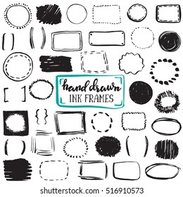 Set of sketch drawn frames. Black and white vector collection of circle and rectangle simple borders.