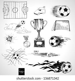Set of sketch football elements