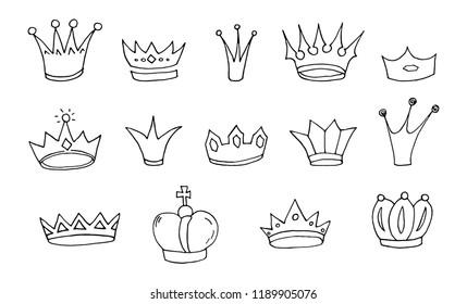 Set of sketch hand drawn crowns. Vector illustration.