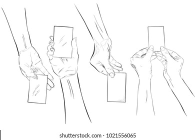 Set Sketch Hand Holding Blank Card, Isolated on White