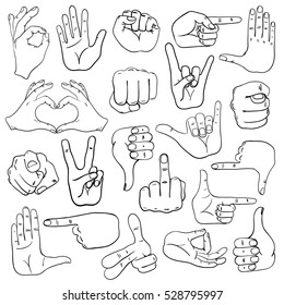 Set of sketch human hands icons, emoji, gesture, signs and signals.