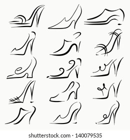 Set sketch icon women shoes isolated. High heels. Clogs. Sandals. Men shoes.  Drawing. White background. Abstract design logo. Logotype art - vector