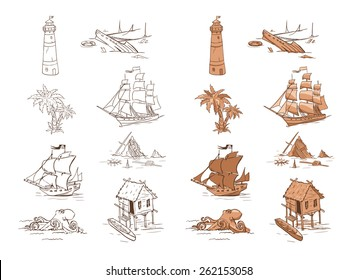 Set of sketch objects for game design. Vector sprites for user interface, maps and backgrounds