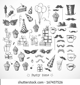 Set of sketch party objects hand-drawn with ink. Isolated on white. Vector illustration. party
