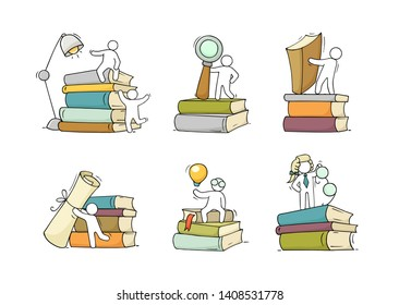 Set sketch of people with books stacks. Doodle cartoon scene about reading. Hand drawn vector illustration for education design isolated on white.