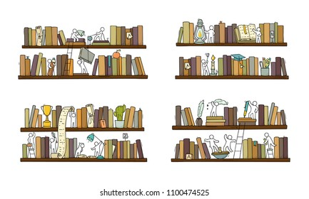Set sketch of people teamwork, books,cooperation. Doodle cartoon scene with bookshelves. Hand drawn vector illustration for education design isolated on white.