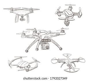Set of sketch quadcopters, drones with integrated camera. Vector hand drawn illustration isolated on white background.