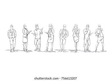 Set Of Sketch Silhouettes Of Businesspeople Figures Businesswomen And Businessmen Full Length On White Background Vector Illustration