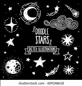 Set of sketch stars, comets and constellations, vector illustration
