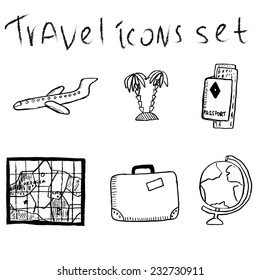 Set of sketch travel icons. Vector illustration with plane, passport and tickets, map, bag, globe and palms.
