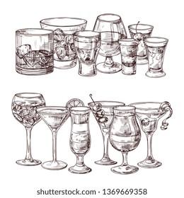 Set of sketched alcoholic drinks vector illustration