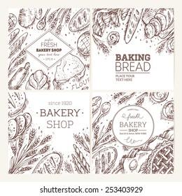 Set of sketched bakery frames. Bread collection. Vector illustration.