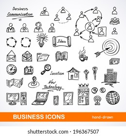 Set of sketched business icons on a white background