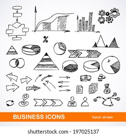 Set of sketched business icons on a white background - vector illustration