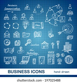 Set of sketched business icons on a blue print background - vector illustration
