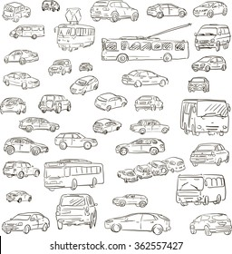 set of sketched cars, hand drawn transport