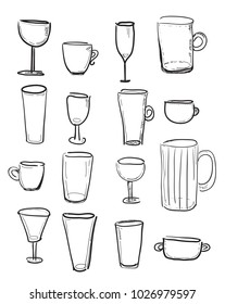 Set of sketched cups and glasses - hand draw, vector