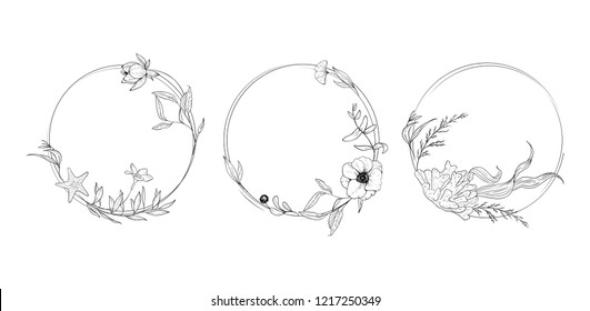 Set of sketched floral rings; branches, lotos, algae, starfish, coral, anemones. Mono line frames on white. Flourishes ring & wreath.