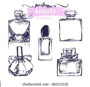 A set of sketches of beautiful perfume bottles.Vector illustration
