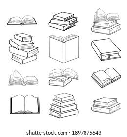 Set of sketches of books vector and illustration, black and white, hand drawn, sketch style, isolated on white background.. Vector illustration.