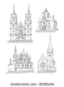 A set of sketches of churches, Hand drawn vector illustration