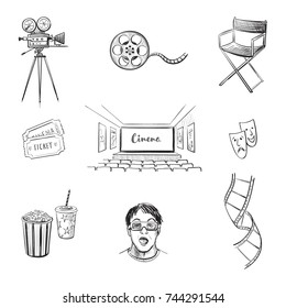 A set of sketches of cinema. Isolated vector graphics on a white background
