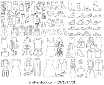 set of sketches of clothes for men and women