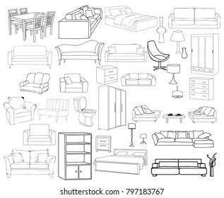 Beau Set Of Sketches Of Furniture For Home