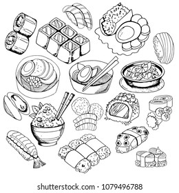 Set of sketches with Japanese food, sushi, rolls, miso soup, rice, black and white contour on white background, hand drawing style, vector illustration